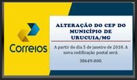 Alteração do CEP do Município de Urucuia/MG